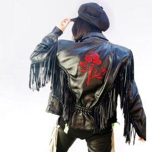 Vtg 80s fringe leather jacket w/ roses details